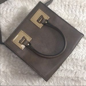 Brown leather bag w/cross body strap & gold